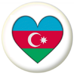 Azerbaijan Country Flag Heart 25mm Pin Button Badge